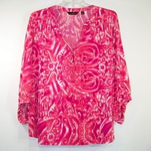 Pink White Pullover ikat Top Investments 3X